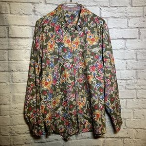 Alan flusser XL paisley long sleeve button shirt